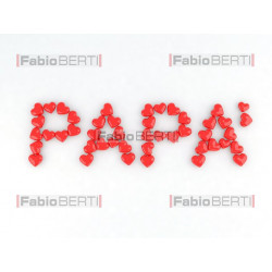 written papà with hearts
