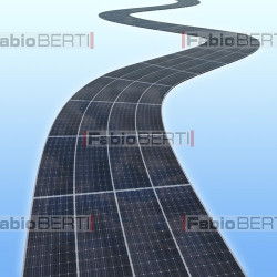 road ​​with solar panels