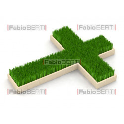 green cross with grass