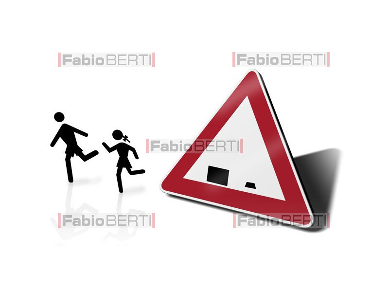 eccentric school traffic sign