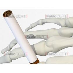 mano scheletro con sigaretta