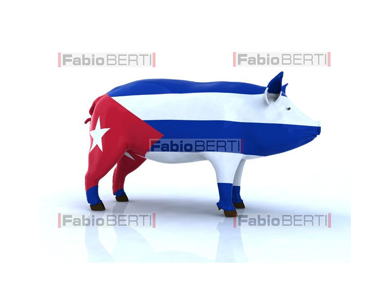 pork with Cuban flag
