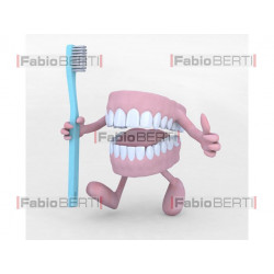 denture with toothbrush