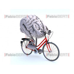 brain with bicycle