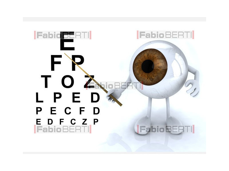 eye with optometric table