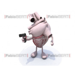 human heart with gun