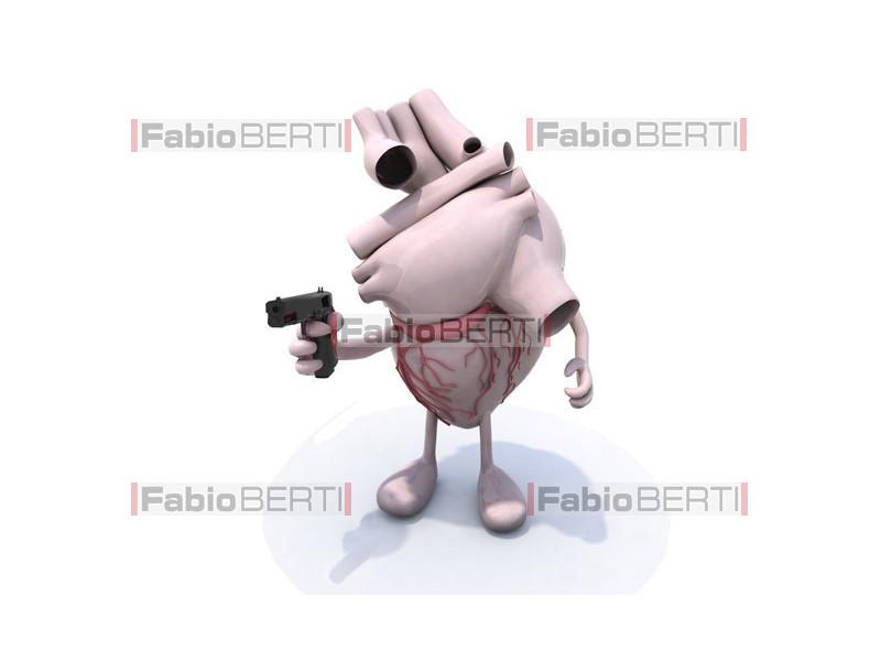 human heart with gun
