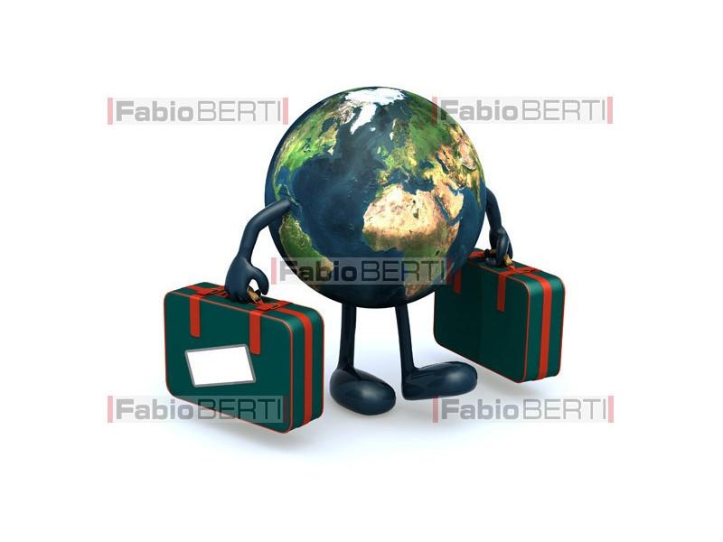 mondo con le valigie