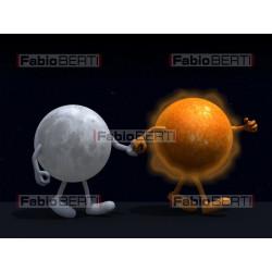 moon and sun walking