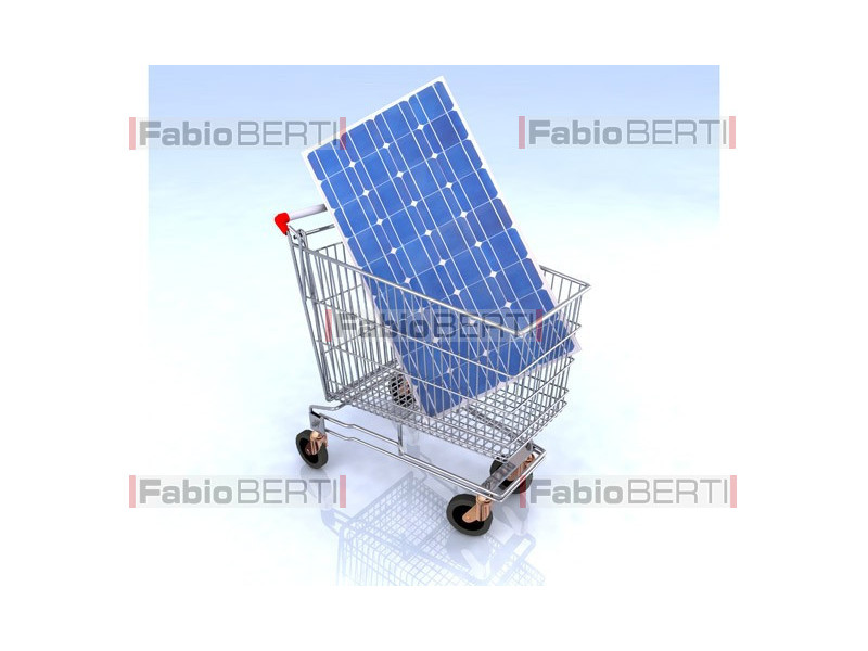 shopping cart with solar panel