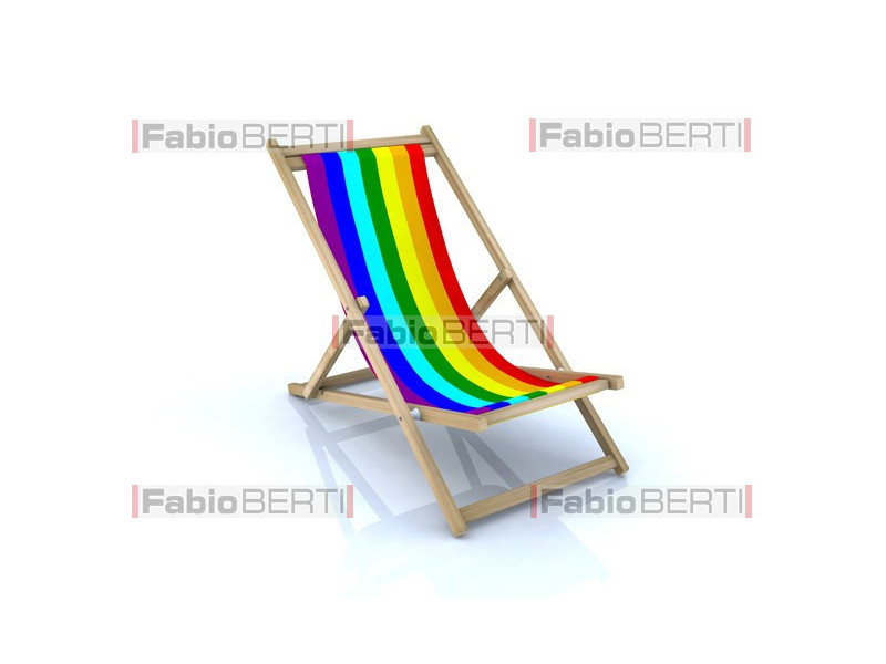beach chairs rainbow