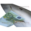 shark with a 100 euro banknote in its jaws