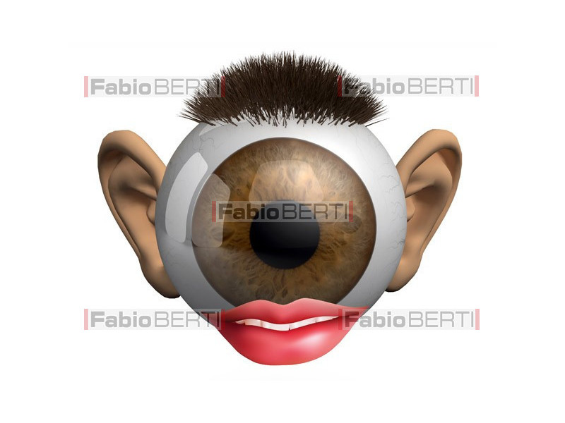 occhio con orecchie e bocca