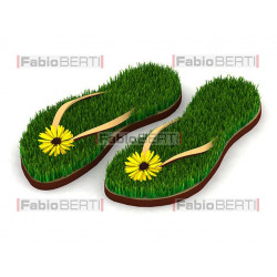 sandals with grass inside