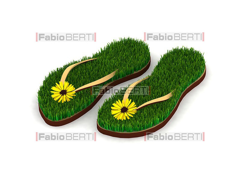 sandals with grass