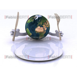 world in front of an empty plate
