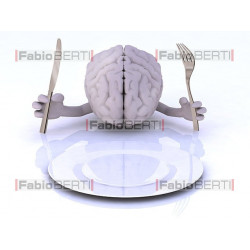 brain in front of a plate