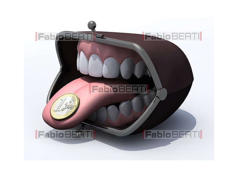denture in a purse with euro