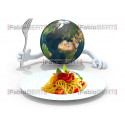 world in front of a spaghetti plate