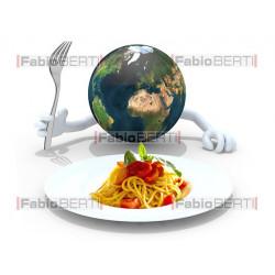 mondo davanti a piatto spaghetti