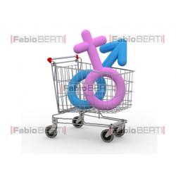 carrello con simbolo uomo e donna