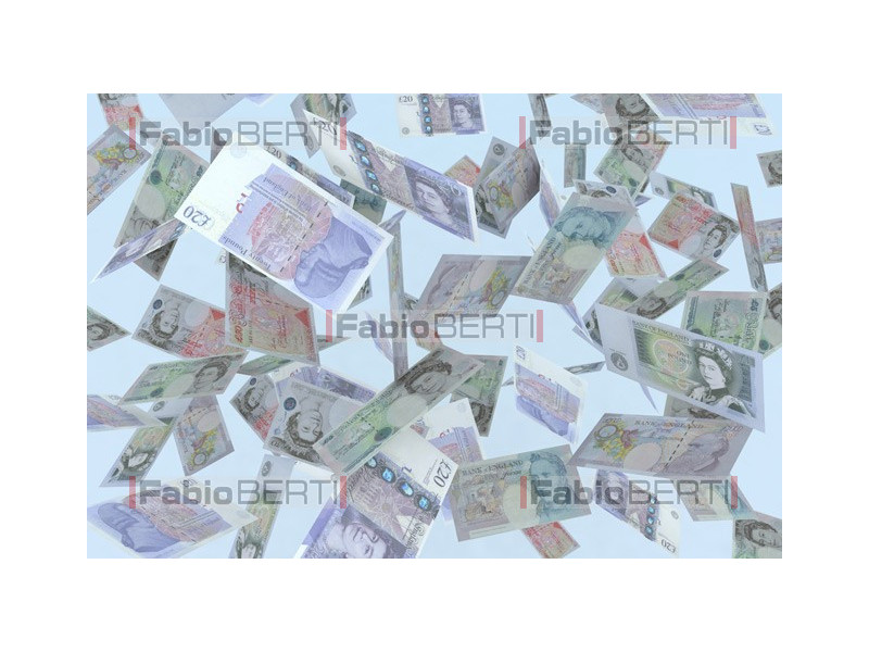 pounds banknotes in the air