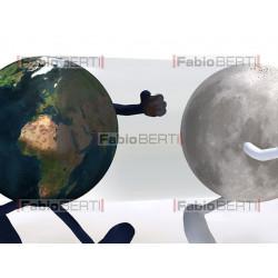 mondo, luna e sole che corrono
