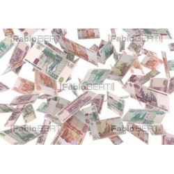 rublee banknotes in the air
