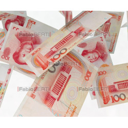 yuan banknotes in the air
