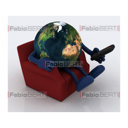 world relaxing on armchair