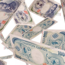 yen banknotes in the air