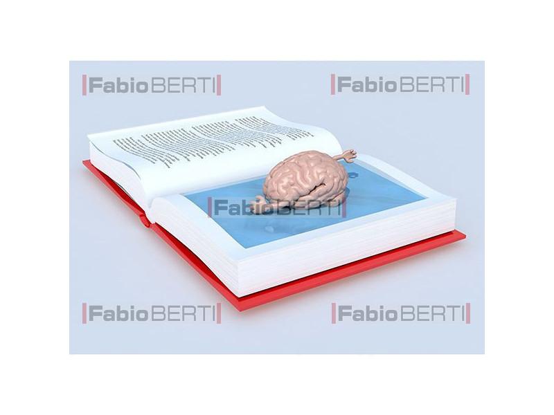 Brain swimming in a book