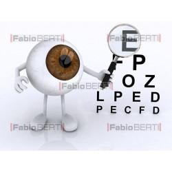 occhio con lente su caratteri