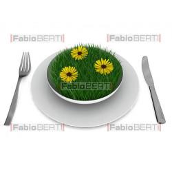 grass on a plate