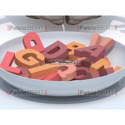 cervello e piatto lettere