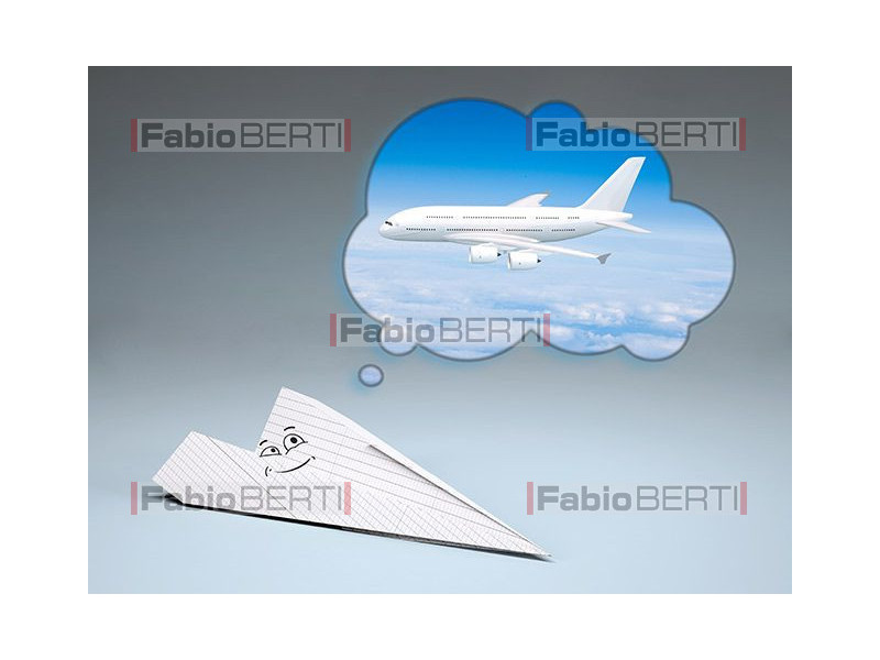 aereo di carta che sogna