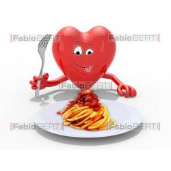 cuore davanti a piatto amatriciana