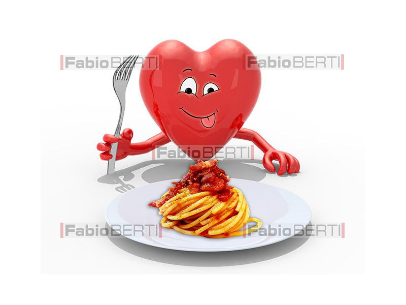 Heart in front of a Amatriciana plate