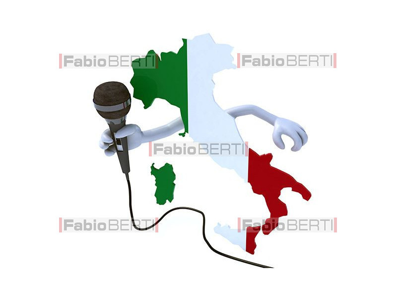 Italy with wire microphone