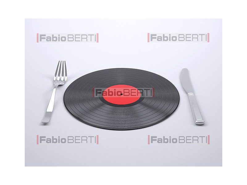 Vinyl record with cutlery