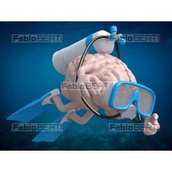 Human brain scuba diving
