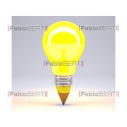 yellow bulb and pencil