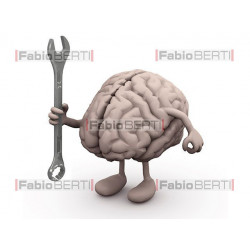 brain with a wrench in his hand