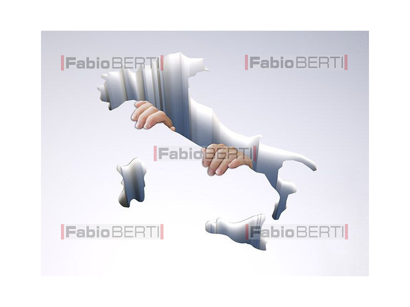 Map of Italy with hands