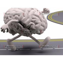 brain running on a road