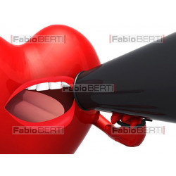 heart with loudhailer