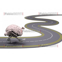 brain running on a road