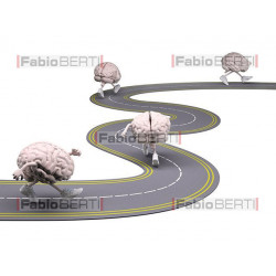 brains running on a road