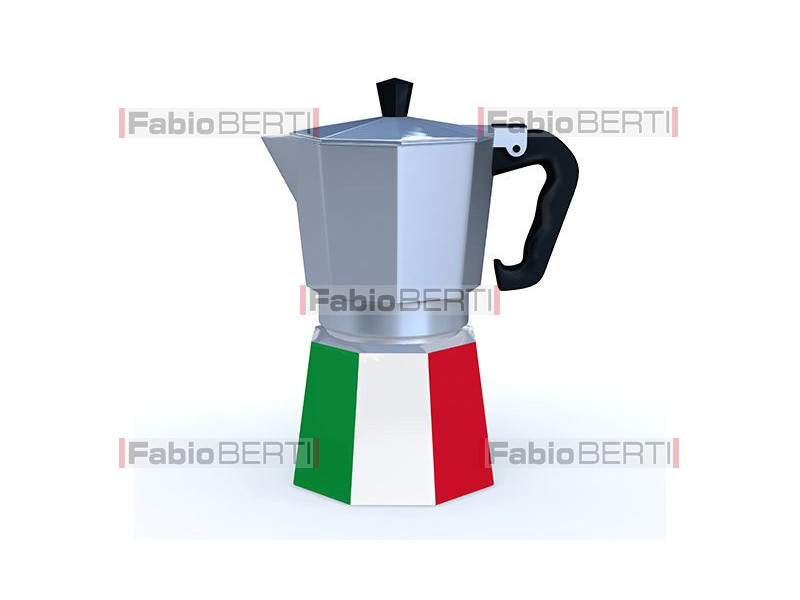 moka with Italian flag