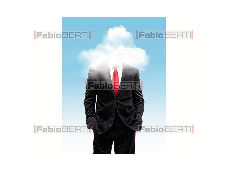 business man clouds
